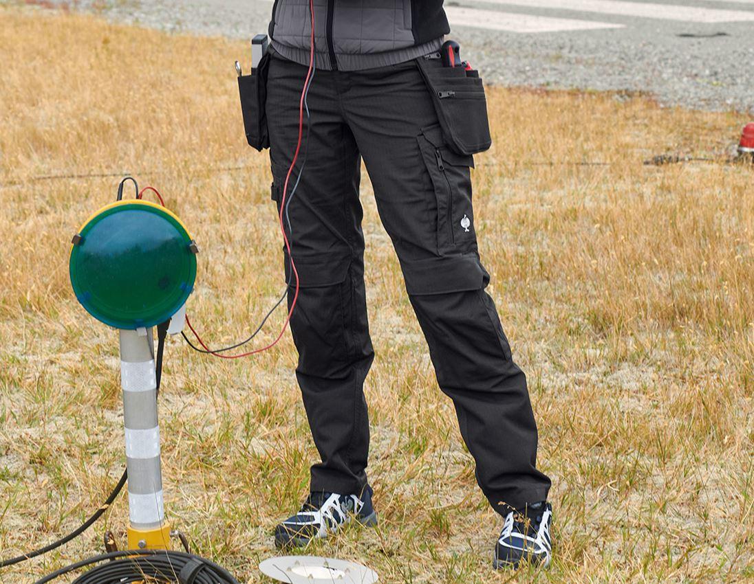 Pantalons de travail: Pantalon à taille élast. e.s.concrete solid femmes + noir