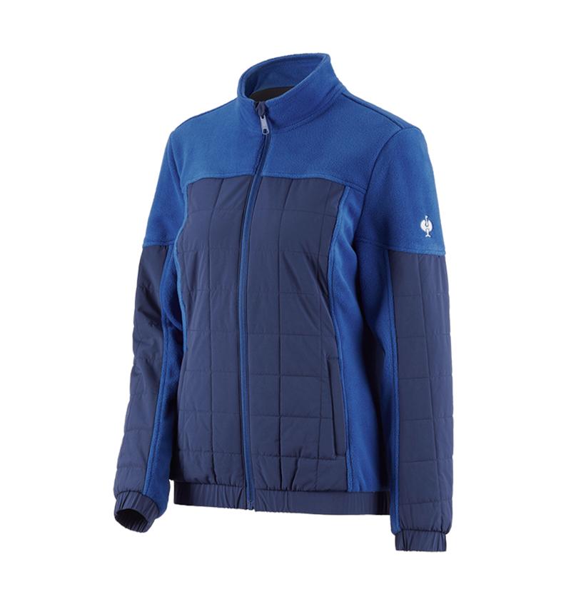 Vestes de travail: Veste en laine polaire hybride e.s.concrete,femmes + bleu alcalin/bleu profond