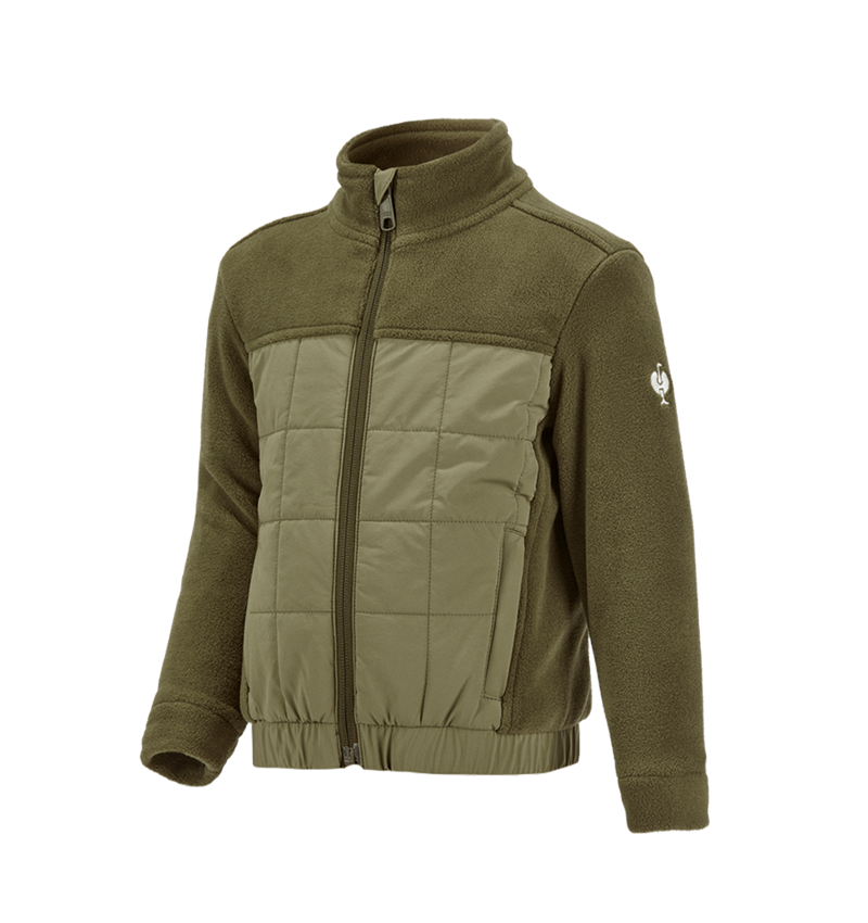 Vestes: Veste en laine polaire hybride e.s.concrete,enfant + vert boue/vert stipa