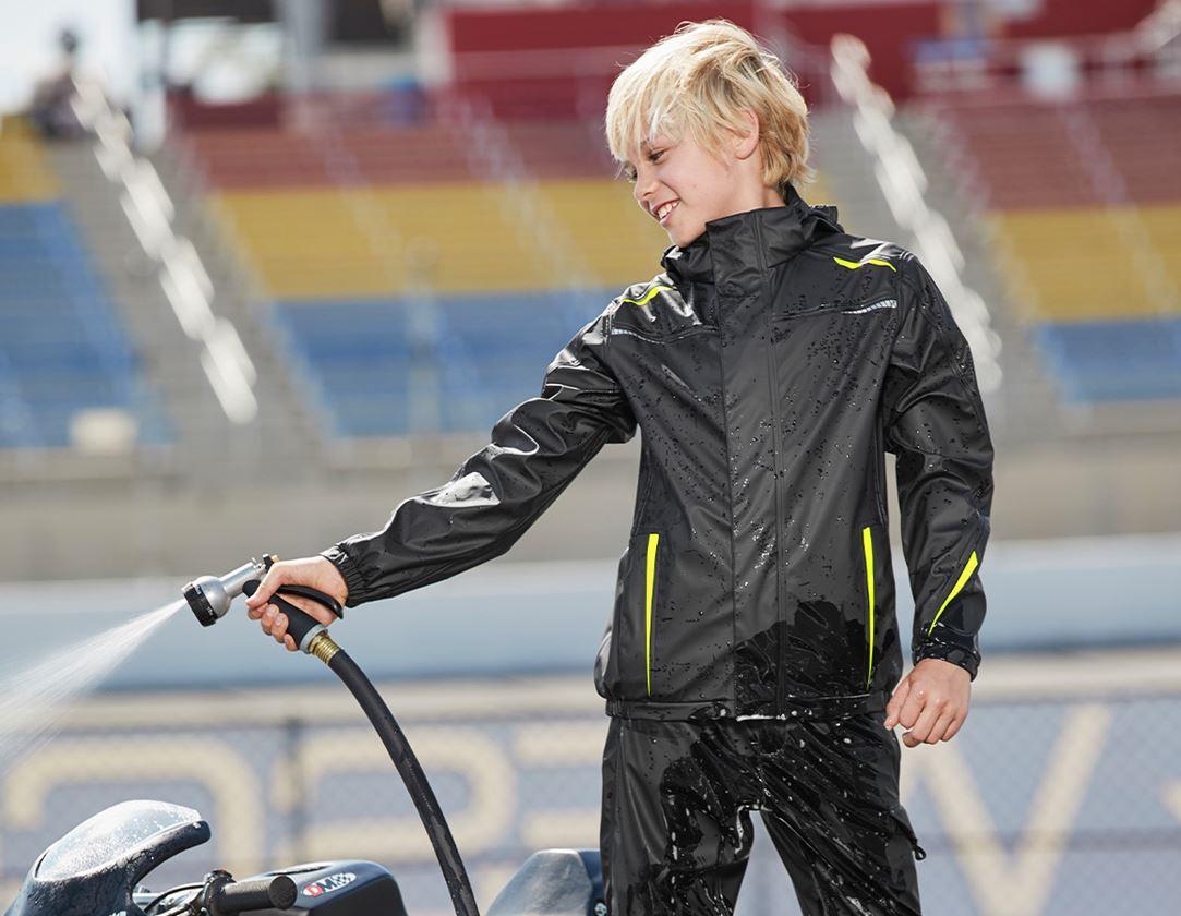 Vestes: Veste de pluie e.s.motion 2020 superflex, enfants + noir/jaune fluo/orange fluo