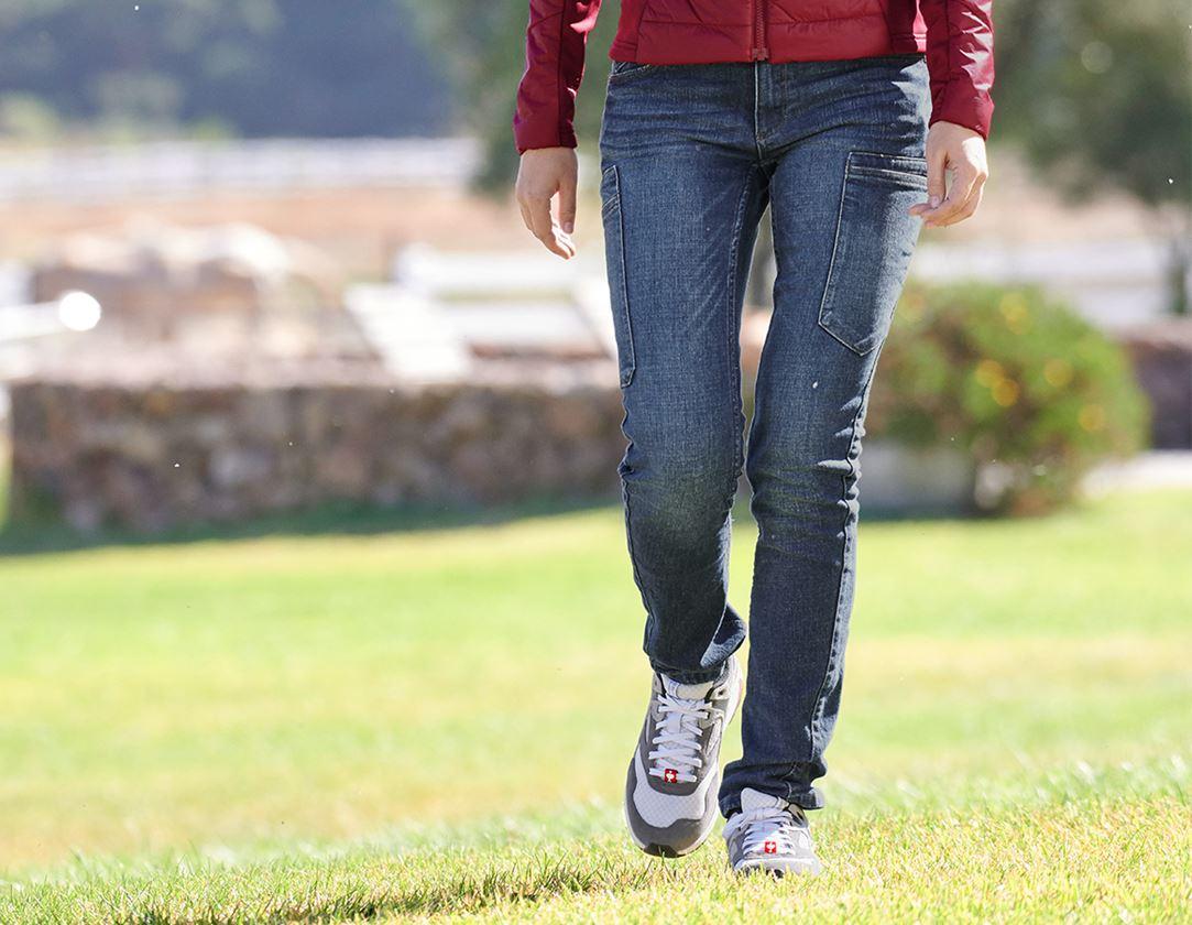 Pantalons de travail: e.s. Jeans à 7 poches, femmes + stonewashed