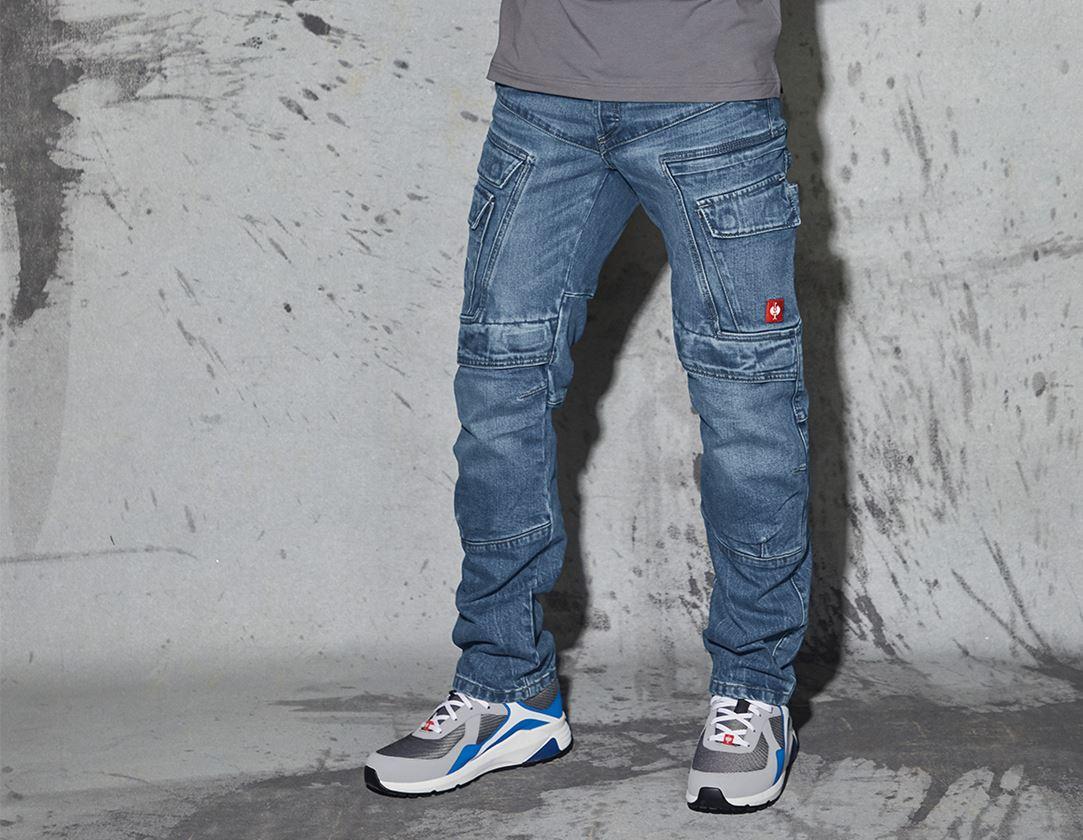 Pantalons de travail: e.s. Jeans de travail cargo POWERdenim + stonewashed