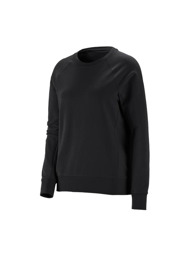 Hauts: e.s. Sweatshirt cotton stretch, femmes + noir
