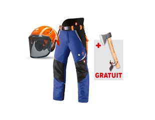 e.s.Pantalon forest. élast. anticoupure KWF+casque