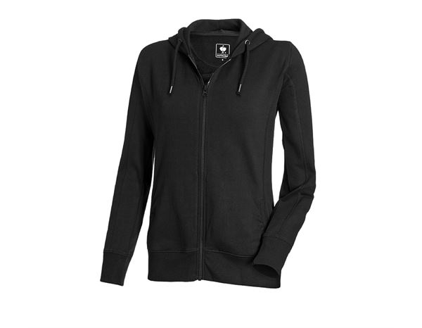 Shirts & Co.: e.s. Hoody-Sweatjacke poly cotton, Damen + schwarz