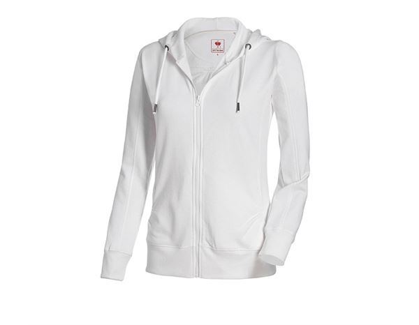 Shirts & Co.: e.s. Hoody-Sweatjacke poly cotton, Damen + weiß