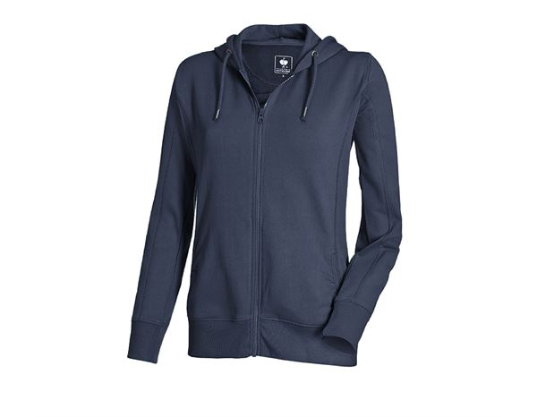 Shirts & Co.: e.s. Hoody-Sweatjacke poly cotton, Damen + dunkelblau