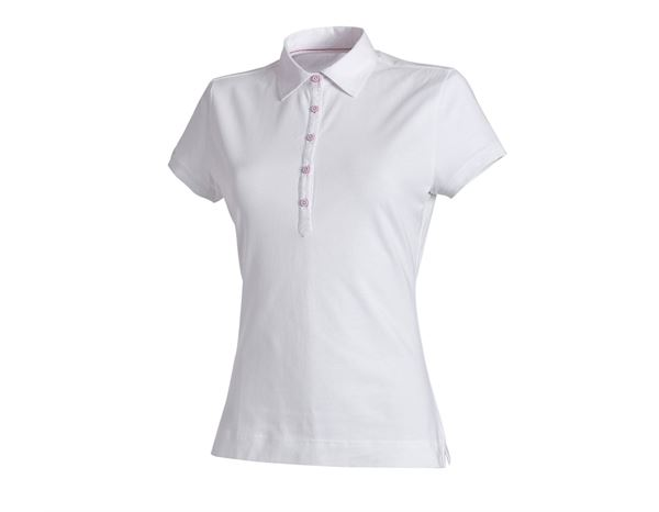 Hauts: e.s. Polo cotton stretch, femmes + blanc