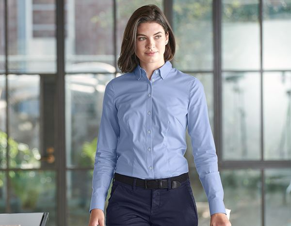 Shirts & Co.: e.s. Business Bluse cotton stretch, Damen reg. fit + frostblau