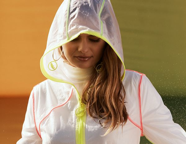 workwear couture: Clarity Raincoat + neon-transparent