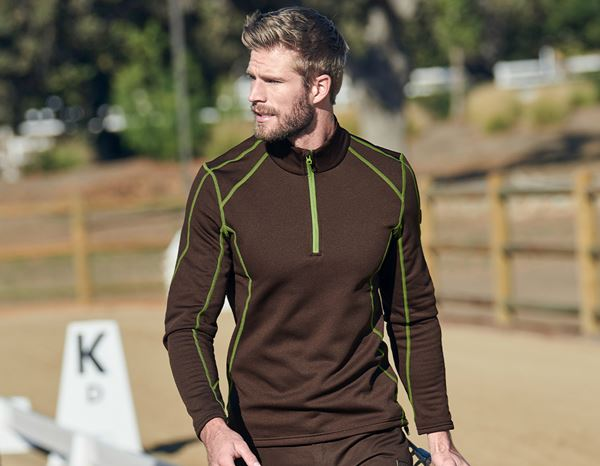 Shirts & Co.: Funkt.-Troyer thermo stretch e.s.motion 2020 + kastanie/seegrün